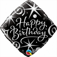 Black Sparkle Happy Birthday Balloon 45cm
