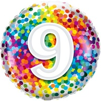 9th Confetti Birthday Balloon 45cm