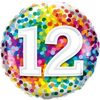 12th Confetti Birthday Balloon 45cm