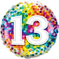 13th Confetti Birthday Balloon 45cm