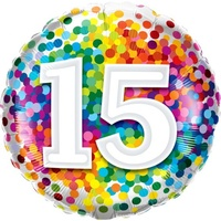 15th Confetti Birthday Balloon 45cm