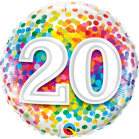 20th Confetti Birthday Balloon 45cm