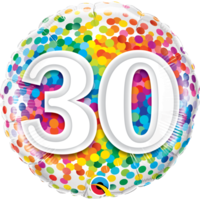 30th Confetti Birthday Balloon 45cm