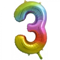 Rainbow Number 3 Balloon 86cm
