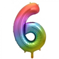 Rainbow Number 6 Balloon 86cm
