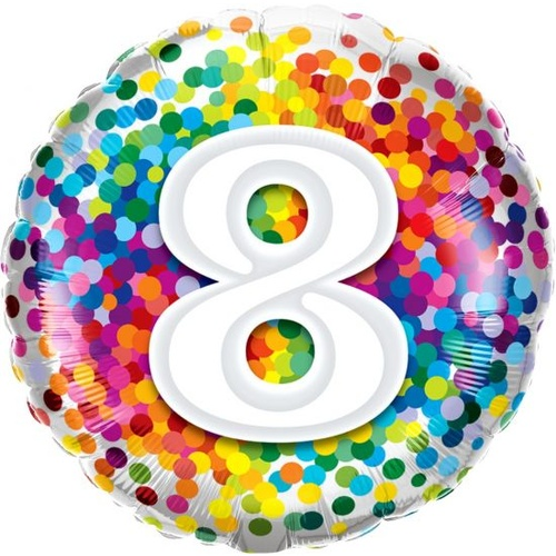 8th Confetti Birthday Balloon 45cm